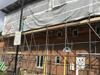 Temporay roof and access scaffold